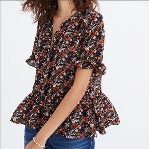 Madewell Silk Floral Print Ruffle Blouse